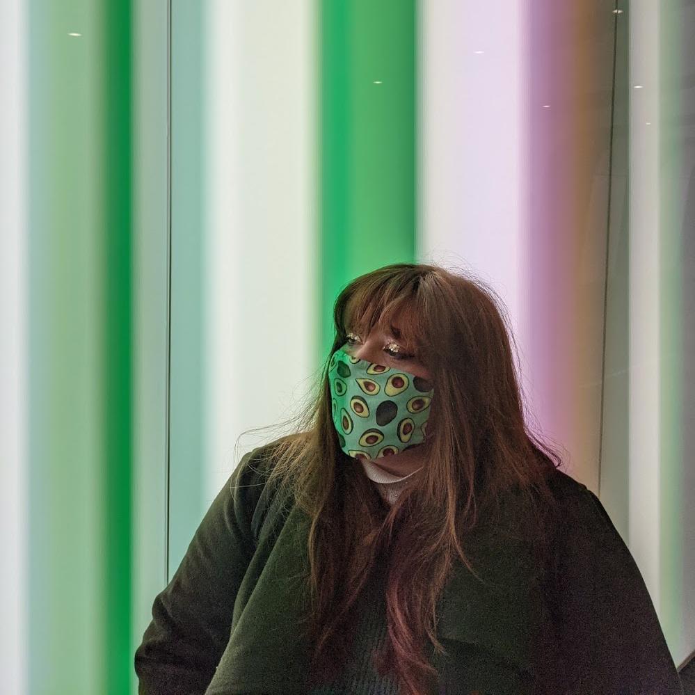 woman in mask in London tube during lockdown 3 2021